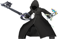 Roxas wielding the Oathkeeper and Oblivion with his hood up.
