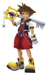 In Kingdom Hearts Sora Wears A Red Jumpsuit That Has Long Zipper Running Through The Middle Ending With Puffy Shorts He Crown Chain On His Left